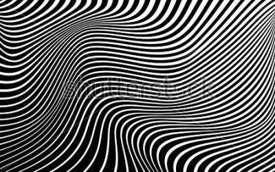 Quadro arte óptica abstrato onda fundo design preto e branco