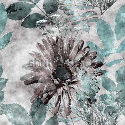 Quadro arte vintage aquarela colorida floral sem costura padrão com grande gerbera, folhas e gramíneas em fundo