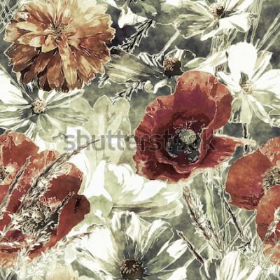 Quadro arte vintage aquarela colorida floral sem costura padrão com papoulas vermelhas e brancas, peônias, ásteres, folhas e gramíneas em fundo verde escuro