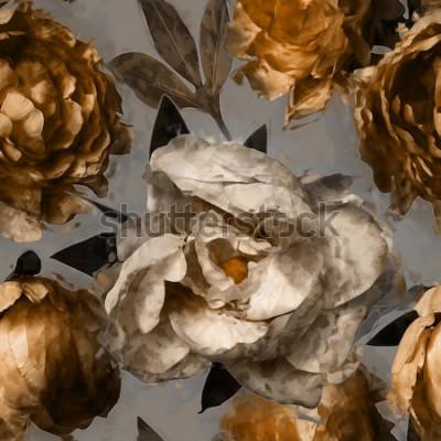 Quadro arte vintage floral sem costura padrão com peônias brancas e ouro sobre fundo cinzento