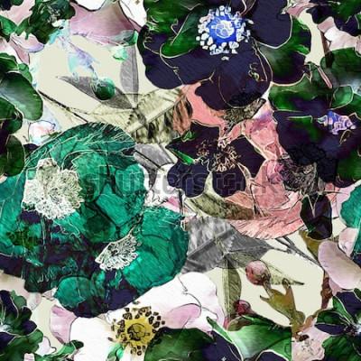 Quadro arte vintage lápis floral padrão sem emenda colorido com rosas pretas e papoulas verdes sobre fundo claro. Exposição dupla e efeito Bokeh