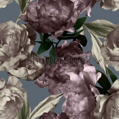 Quadro arte vintage monocromático gráfico e aquarela floral padrão sem emenda com peônias brancas e roxas em fundo cinza