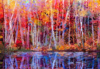 Quadro Árvores coloridas do outono da pintura a óleo. Semi imagem abstrata da floresta, árvores do álamo tremedor com amarelo - folha e lago vermelhos. Outono, fundo da natureza da estação de queda. Pintado