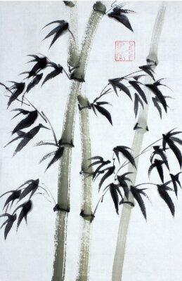 Quadro Árvores de bambu brilhantes