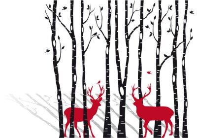 Quadro árvores de vidoeiro com veados Natal, vetor