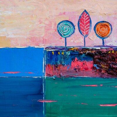 Quadro Árvores, pintura a óleo, artistico