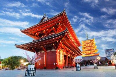 Quadro Asakusa temple with pagoda at night, Tokyo, Japan
