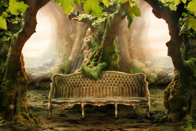 Quadro assento romântico em uma floresta profunda