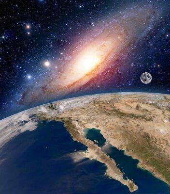 Quadro Astrologia, astronomia, terra, grande, bang, espaço, estrelas, lua, planeta, leitoso, maneira, galáxia. Elementos desta imagem fornecida pela NASA.