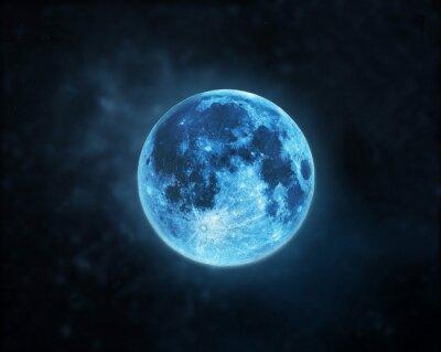 Quadro Atmosfera Lua cheia azul no fundo escuro céu noturno, elementos desta imagem equipada pela NASA