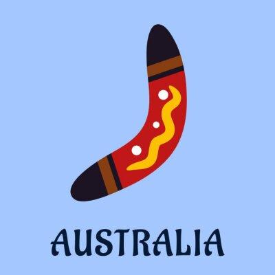 Quadro Australian boomerang isolado colorido nacional