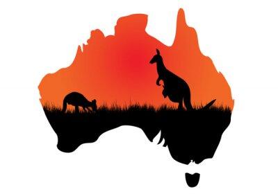 Quadro Australian map with kangaaroo