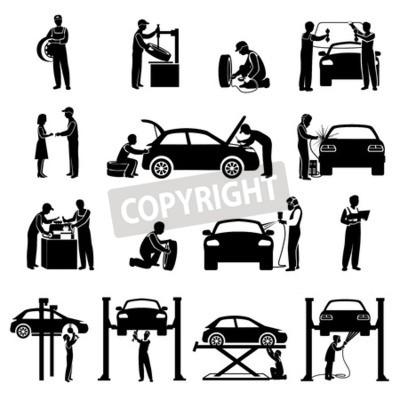 Quadro Auto serviço ícones pretas jogo com mecânico e carros silhuetas isolado vetorial ...