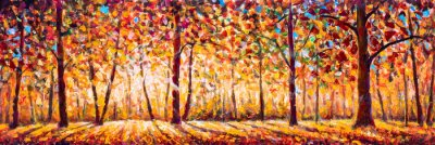 Quadro Autumn  panorama Original oil painting on canvassunny park with red golden trees and meadow , natural seasonal background Original oil painting on canvas