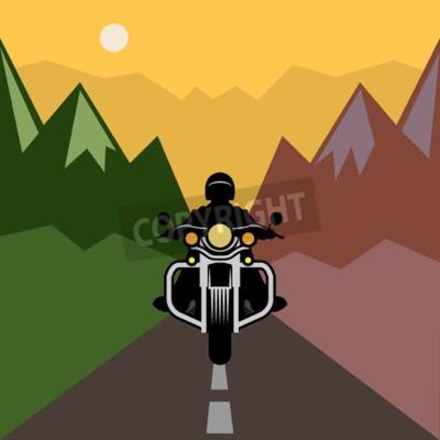 Quadro Aventura em motocicleta, ilustração vetorial