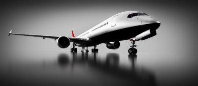 Quadro Avião passageiro em estúdio ou hangar. Aeronave, companhia aérea