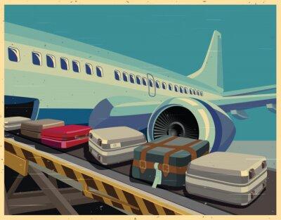Quadro Aviões civis e cartaz velho da bagagem