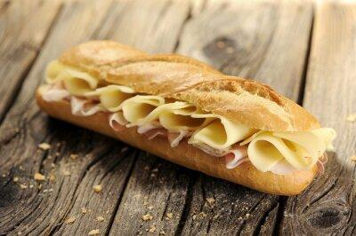 Quadro Baguette pão com presunto e queijo