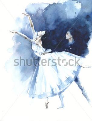 Quadro Bailarina dança dançarina de balé Giselle aquarela pintura ilustração cartão