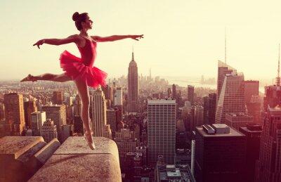 Quadro Balé, Dançarino, frente, Novo, York, Skyline