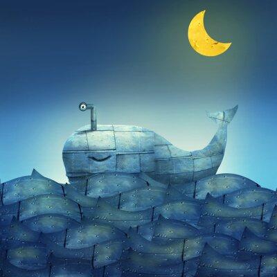 Quadro Baleia no azul