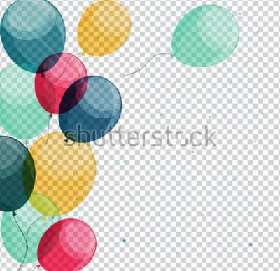 Quadro Balões de feliz aniversário brilhante na eps10 de ilustração vetorial de fundo transparente