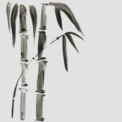Quadro Bambu em estilo de pintura japonesa. Tradicional linda aquarela mão ilustrações desenhadas