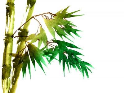Quadro Bambu Tropical com Folhas