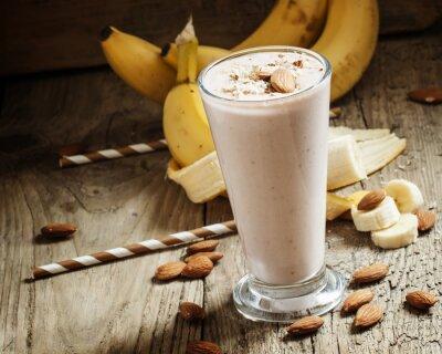 Quadro Banana, smoothie, leite, chão, amêndoas, grande, copo,