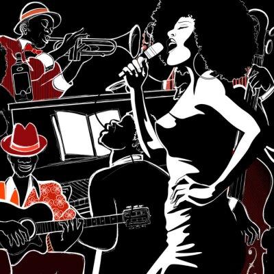 Quadro Banda de jazz com contrabaixo trombeta de piano