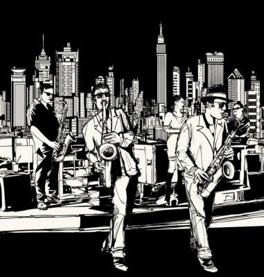Quadro Banda de jazz tocando em Nova York