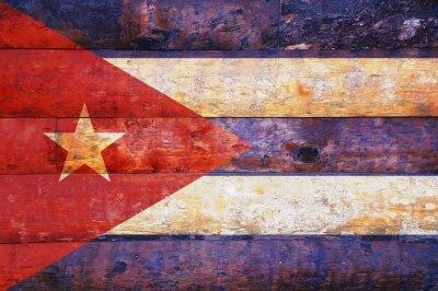 Quadro Bandeira de Cuba em madeira velha.