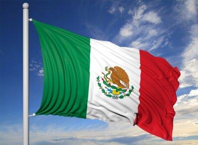Quadro Bandeira de ondulação de México no mastro, no fundo do céu azul.
