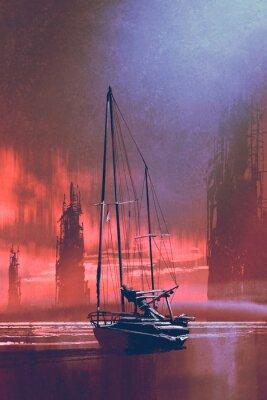 Quadro Barco à vela na praia contra edifícios abandonados no mar ao pôr do sol com estilo de arte digital, pintura de ilustração