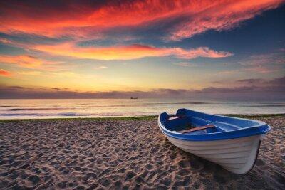 Quadro Barco e nascer do sol