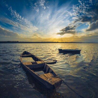 Quadro Barcos em um rio de Volga