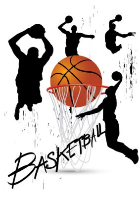 Quadro basketball player in posture jumping on white
