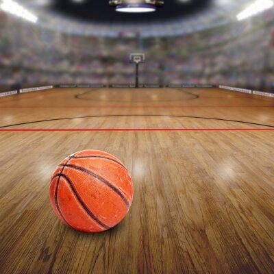Quadro Basquetebol, arena, bola, corte, cópia, espaço Rendido no Photoshop.
