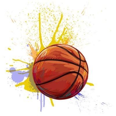 Quadro Basquetebol Criado pelo artista profissional. Esta ilustração é criada por Wacom tabletby usando texturas e escovas do grunge