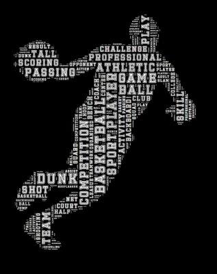 Quadro Basquetebol, jogador, palavra, nuvem, basquetebol, tipografia, fundo