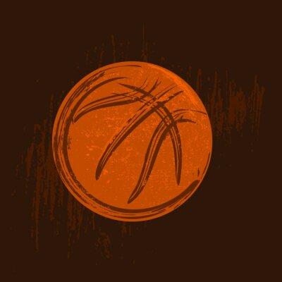Quadro Basquetebol, símbolo, desenho, pretas, golpes, escuro, fundo