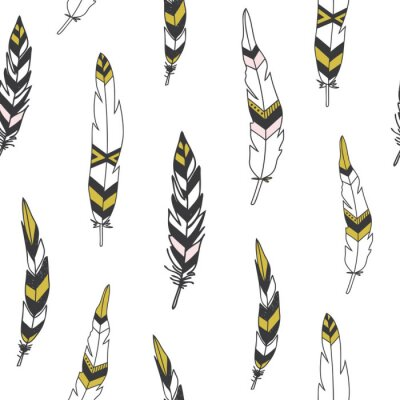 Quadro Beautiful indian seamless pattern with feathers in vector.