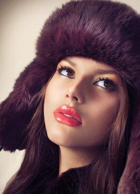 Quadro Beauty Girl Fashion Modelo em um chapéu de pele