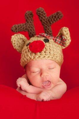 Quadro Bebê recém-nascido Vestindo uma Rena do Nariz Vermelho Hat