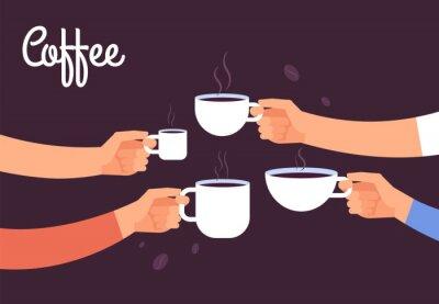 Quadro Bebendo o conceito de café. Amigos bebem café no café da manhã. Quebre no escritório com o conceito de vetor de café expresso. Ilustração de bebida de café, café da manhã café da manhã com café expres