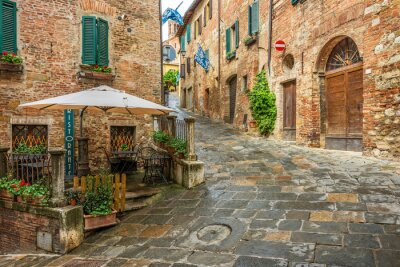 Quadro Beco lindo em Montepulciano, Toscana, Itália