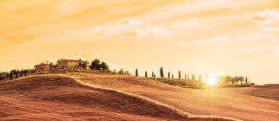 Quadro Bela paisagem panorâmica típica da Toscana ao pôr do sol, Itália