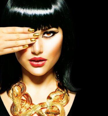 Quadro Beleza Brunette Egyptian Woman.Golden Acessórios