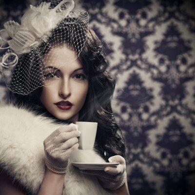 Quadro Belo café beber retro da senhora nova