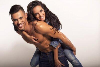 Quadro belo casal sexy em jeans